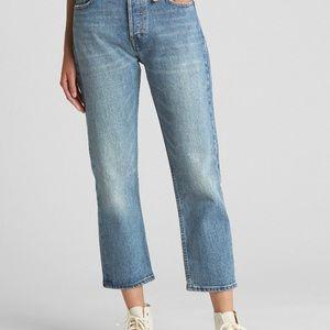 GAP Cone Denim Super High Rise Crop Straight Jeans